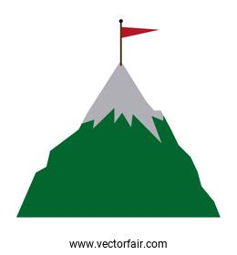 success icon mountain with flag on a peak as aim achievement or leadership