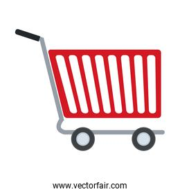 shopping cart of side view empty supermarket e commerce