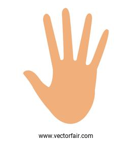 hand showing five finger stop gesture icon