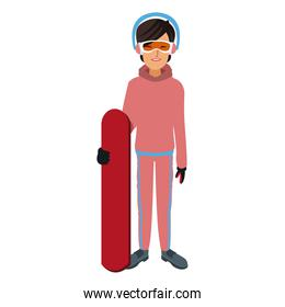 snowboarder girl winter clothes with goggles and earmuffs