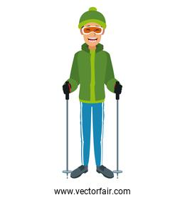 man with clothes snow hat and goggles sticks ski