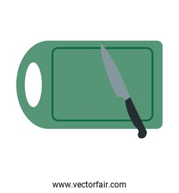 wooden cutting board and knife isolated on white background