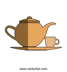 the teapot and cup beverage element icon
