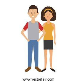 couple standing man and woman together people