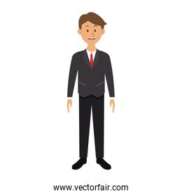 smiling man in suit clothes standing character