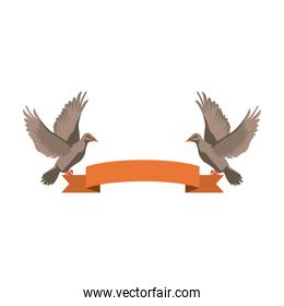 two doves holding a banner ribbons clip art isolated on white background
