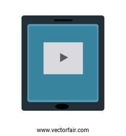 tablet touch with video player on the screen streaming