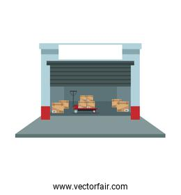 warehouse logistic forklift boxes operation building