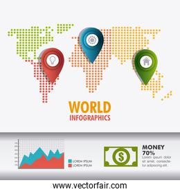 World connections and business infographic