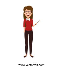 teacher woman with pointer