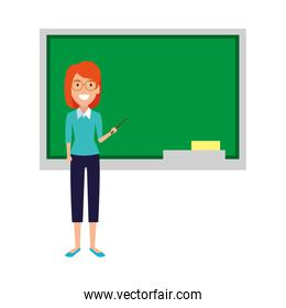 teacher woman with pointer and chalkboard