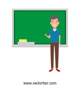 teacher man with pointer and chalkboard
