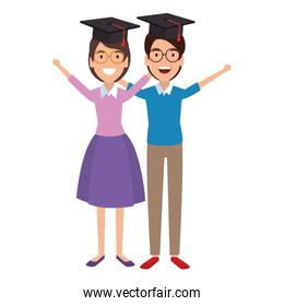 couple of students celebrating with hat graduation