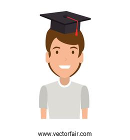 young man student with hat graduation