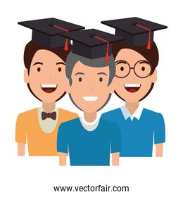 young men students with hat graduation