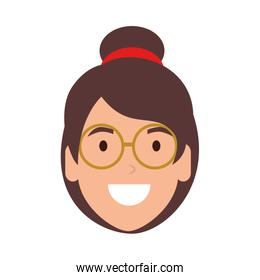 beautiful woman with glasses head character