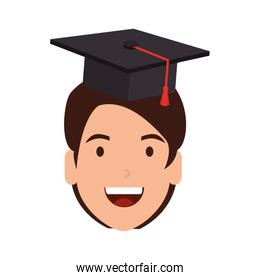 young man student head with hat graduation
