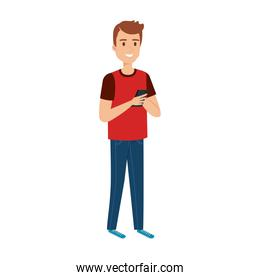 young and casual man using smartphone