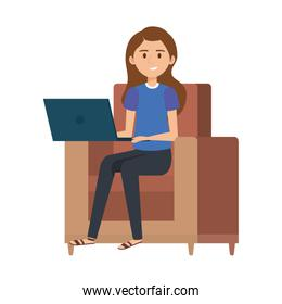 young woman at sofa with laptop