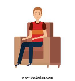 young and casual man at the sofa