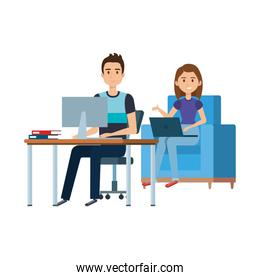 couple working in the office and sofa