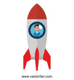 young man in rocket startup