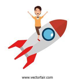young man on rocket startup