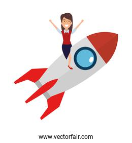 young woman on rocket startup