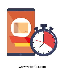 smartphone with box and chronometer delivery app