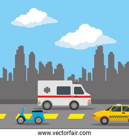 urban road with taxi and ambulance