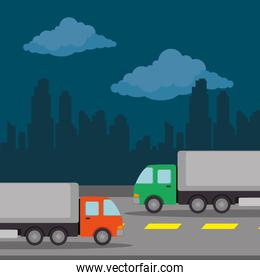 urban road with trucks scenery icon