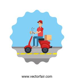 delivery worker in motorcycle and box