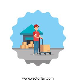delivery worker with cart and warehouse