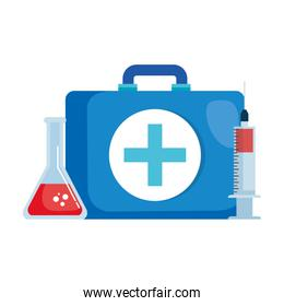 medical kit with tube test and injection