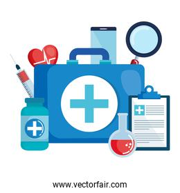 medical kit with set icons