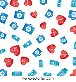 medical kit with heart cardio pattern background