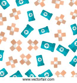 cure band and botles drugs pattern background