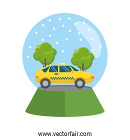taxi car in snow sphere