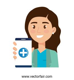 female nurse with smartphone avatar character