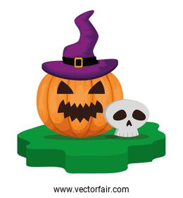 halloween pumpkin with witch hat and skull