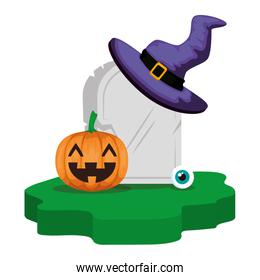 halloween gravestone with pumpkin and witch hat