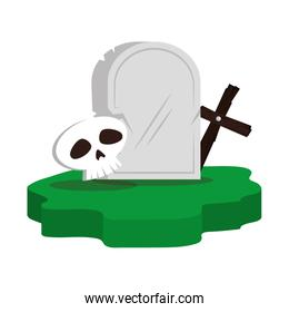 halloween gravestone with skull and cross