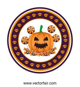 happy halloween pumpkin with candies seal