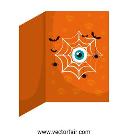happy halloween bats with spiderweb and eye