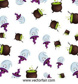 happy halloween cauldrons and ghosts pattern