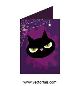 halloween card with head black cat character
