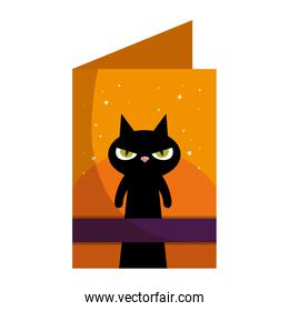 halloween postcard with black cat character
