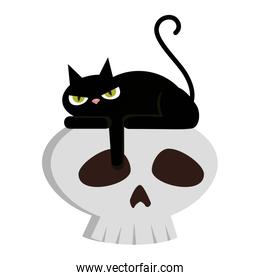 halloween black cat with skull character