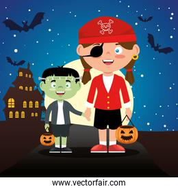 children dressed up in halloween night
