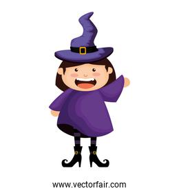 girl dressed up as a halloween witch